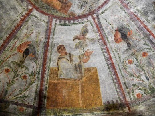"""A detail of the restored fresco of """"dei Fornai"""" (bakers)"""