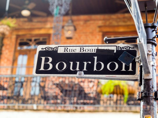 Bourbon Street sign in the French Quarter of New Orleans,