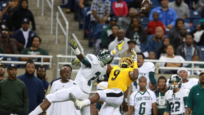 MSU landed receiver Donnie Corley (9) from Detroit King High as part of its 2016 recruiting class. The Spartans are looking at Detroit Cass Tech cornerback Donovan Johnson (2) as a 2017 recruiting prospect.