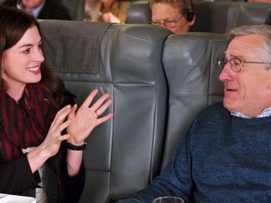"Anne Hathaway plays superstar entrepreneur Jules Ostin with Robert De Niro as Ben Whittaker, her new mentor, in ""The Intern."""