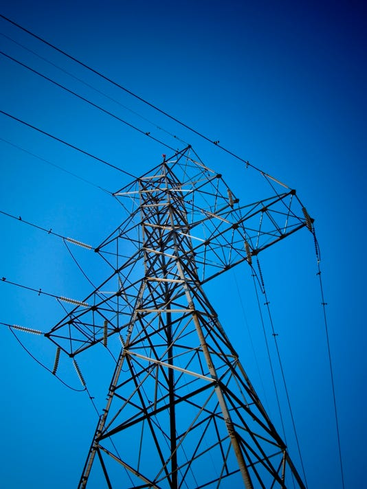 Electric transmission tower.