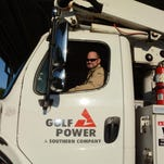 Ed Morrell, Gulf Power service technician, prepares to help restore power to customers in Milton. Gulf Power is honoring its lineworkers today, on Lineworker Appreciation Day.