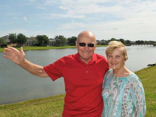 Angelo Turiano, 84, of Viera, seen here with wife, Carolyn, has a very ambitious proposal for Brevard County to build World of Air & Water, which will feature the world's best and largest water park, and an overhead monorail system for various stops around Brevard.