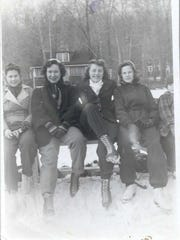 Dotty Flynn, second from right, skating with friends