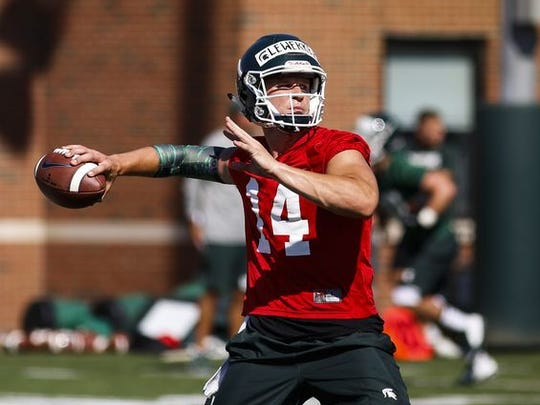 Michigan State quarterback Brian Lewerke participates in practice on July 31, 2017, in East Lansing.