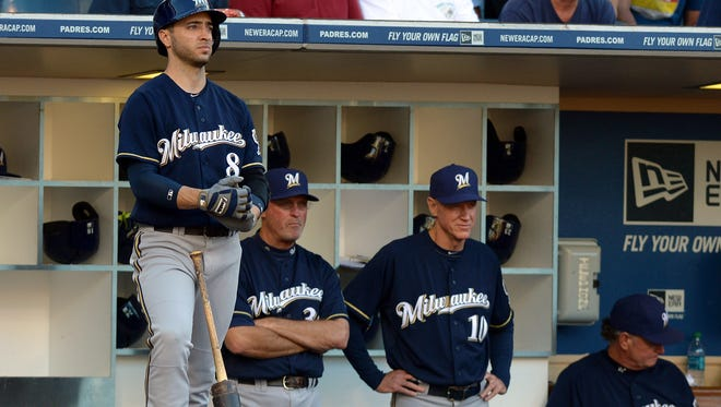 Brewers right fielder Ryan Braun (8) stands on-deck against the San Diego Padres at Petco Park on Aug. 27.