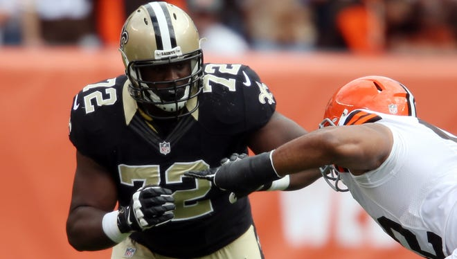 New Orleans Saints offensive tackle Terron Armstead (72) against Cleveland Browns defensive end Desmond Bryant (92) during the second quarter at FirstEnergy Stadium.