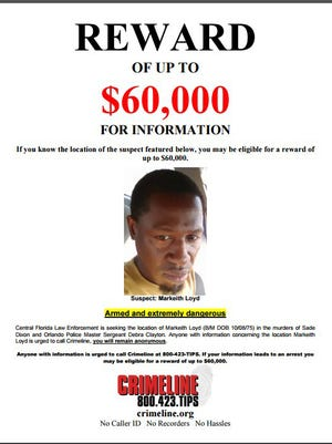 The Orlando Police Department issued a wanted poster for Markeith Loyd, 41, on Monday, Jan. 9, 2017. Loyd is wanted in connection with the murders of his pregnant ex-girlfriend and Orlando Master Sgt. Debra Clayton.