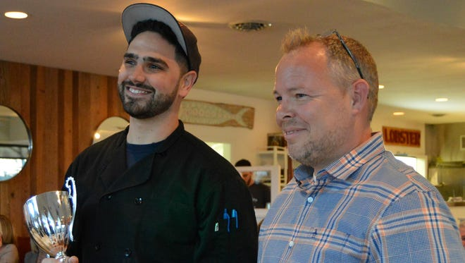 Chef Anthony Leonardi of Plate Catering wins Matt's Cookie Cup trophy March 24, 2016.