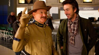 """Director Shawn Levy and Robin Williams on the set of the motion picture """"Night at the Museum: Secret of the Tomb."""""""