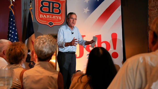 Republican presidential candidate, former Florida Gov. Jeb Bush, speaks during a meet and greet event in Council Bluffs, Iowa, Tuesday, July 14, 2015. (AP Photo/Nati Harnik)