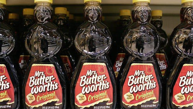 "Conagra Brands announced it has ""begun a complete brand and packing review on Mrs. Butterworth's."""