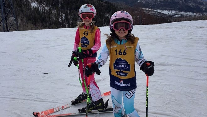 Elmira sisters Mary Katherine Young, left, and Elizabeth Young competed at the NASTAR National Championships in Steamboat Springs, Colorado, in March.