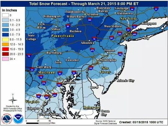 Total snow forecast for the region.