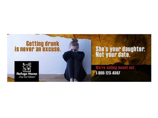 A billboard for the Refuge House's campaign against incest.