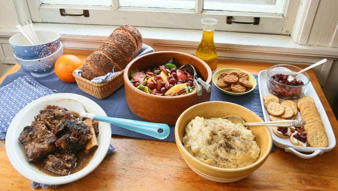 Braised Short Ribs, Ultimate Slow Cooker Mashed Potatoes, Citrus Salad with Orange Vinaigrette and  caramelized onion-cranberry chutney with crackers welcome guests after a winter's hike.