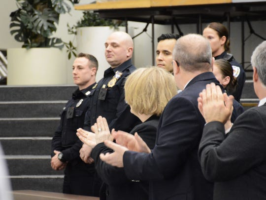 A standing ovation is given as Binghamton Mayor Richard David recognizes the work of law enforcement during his State of the City speech on Tuesday.
