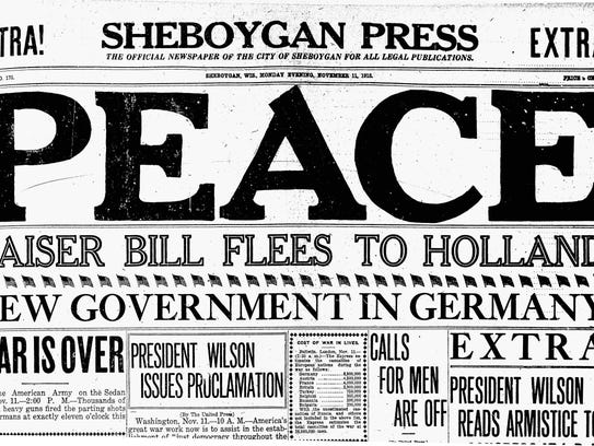 Sheboygan Press headline from Nov. 11, 1918.