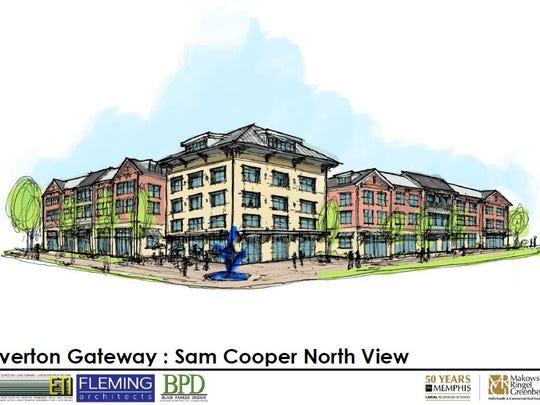 Rendering of northeast corner of Overton Gateway
