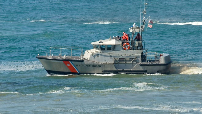US Coast Guard boat at a rescue operation.