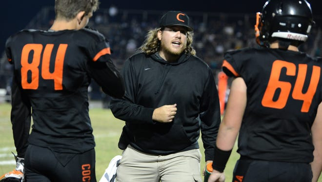 Cocoa assistant coach Josh Woods during last week's state semifinal game.