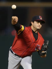 Bryan Garcia pitching for the Mud Hens last summer.