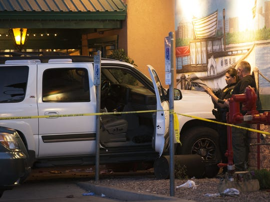 An SUV hit the wall near the front of Oregano's Pizza Bistro at 6738 W. Bell Road on Monday, May 25, 2015, in Glendale.