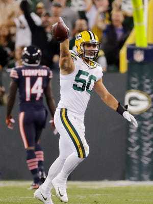 Green Bay Packers inside linebacker Blake Martinez (50) celebrates after recovering a Chicago Bears fumble in the first quarter on Thursday, September 28, 2017 at Lambeau Field in Green Bay, Wis.