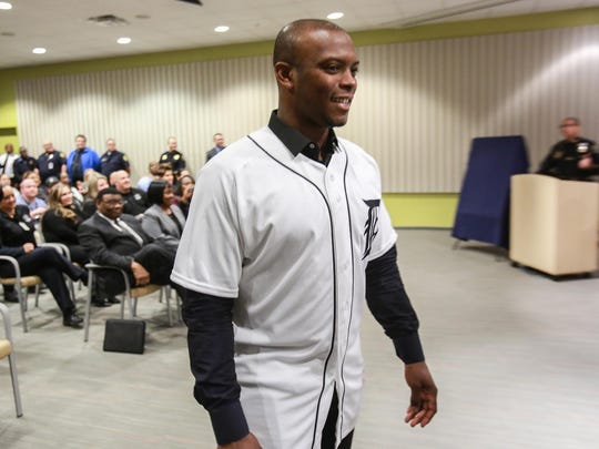 The newest Tiger, Justin Upton, and some of the team stop by the Detroit Police Public Safety headquarters in downtown Detroit for a rally and to present the DPD with a Tigers jersey commemorating their 150 years of service before they leave town for spring training on Thursday.