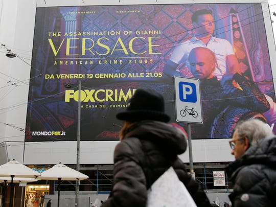 Giant poster advertising the 'The Assassination of Gianni Versace: American Crime Story' in Milan, Italy, Jan. 8, 2018, home base for Versace and his family.