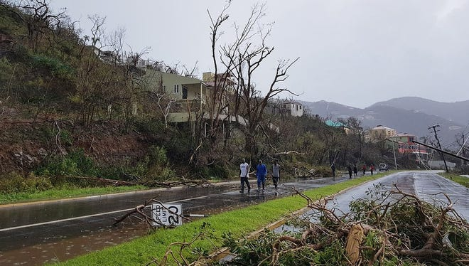 Damage on the island of Tortola in the British Virgin Islands, after it was hit by Hurricane Irma.