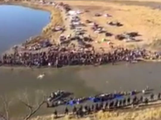 Law enforcement is in a standoff with protesters of the Dakota Access Pipeline Wednesday, Nov. 2.