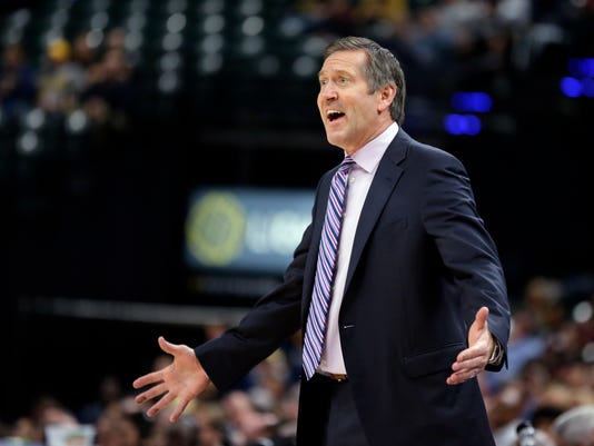 New York Knicks head coach Jeff Hornacek reacts to a call during the first half of an NBA basketball game against the Indiana Pacers in Indianapolis, Monday, Dec. 4, 2017. (AP Photo/Michael Conroy)