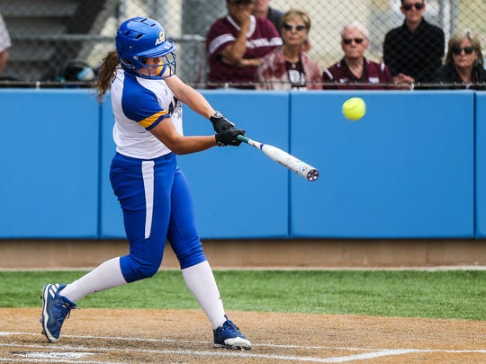 Courtney Barnhill, shown here in a 2017 file photo, hit a two-run home run in the bottom of the sixth inning of Friday's win against Midwestern State.