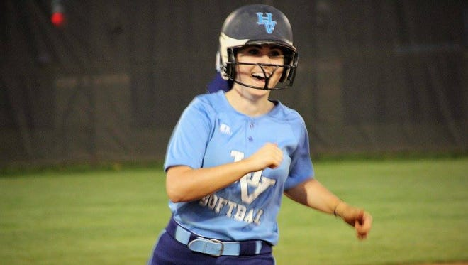 Junior Sydney Dukes rounds third base following her walk-off, three-run home run to give Hardin Valley a 10-9 victory over Maryville on Tuesday.