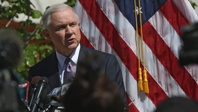 U.S. Attorney General Jeff Sessions makes remarks about his tour of the Mariposa port of entry in Nogales, Arizona, on April 11, 2017. Sessions talked about border issues along the U.S.-Mexico border.