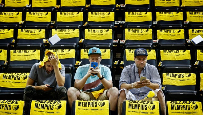Memphis Grizzlies fans patiently wait before taking on the San Antonio Spurs in the third game of their NBA first found playoff series at the FedExForum.