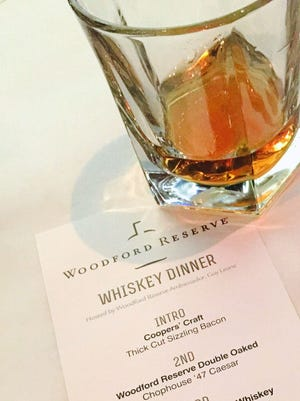 Four whiskeys were poured during a Woodford Reserve whiskey dinner last week at Chophouse '47.