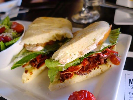 The PLT sandwich, with crispy pepperoni, lettuce, tomato