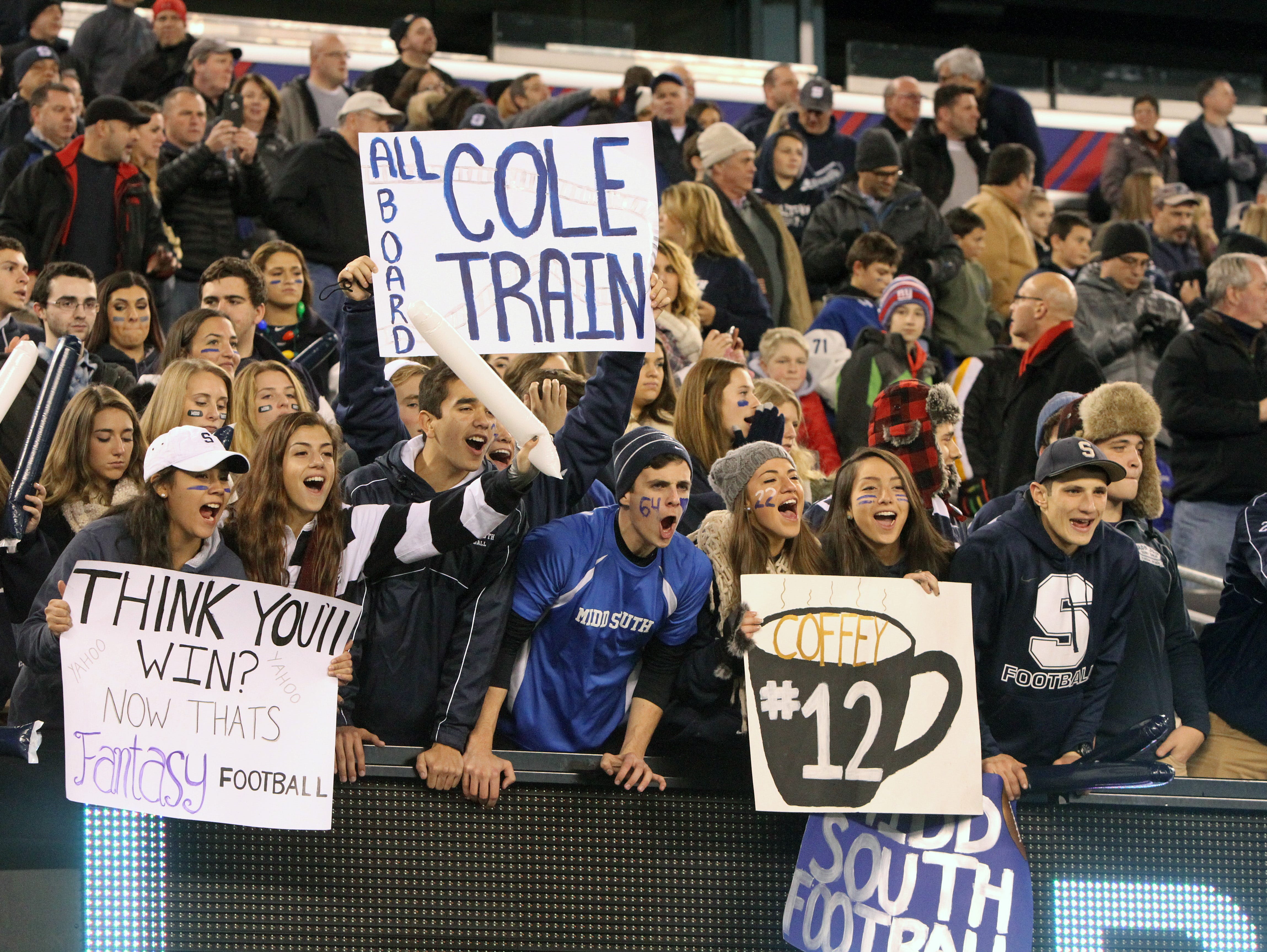 Middletown South High School fans cheer during the North 2 Group IV game against Phillipsburg High School during the 2015 NJSIAA/MetLife Stadium High School Football Championships at MetLife Stadium in East Rutherford, NJ Saturday December 5, 2015.