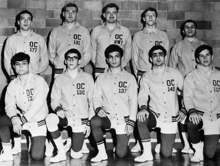 Mike Latimer (top row, left) wrestled at 177 pounds
