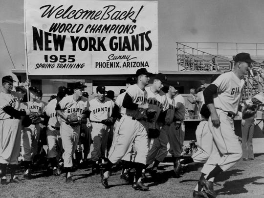 The New York Giants at Spring Training in 1955.