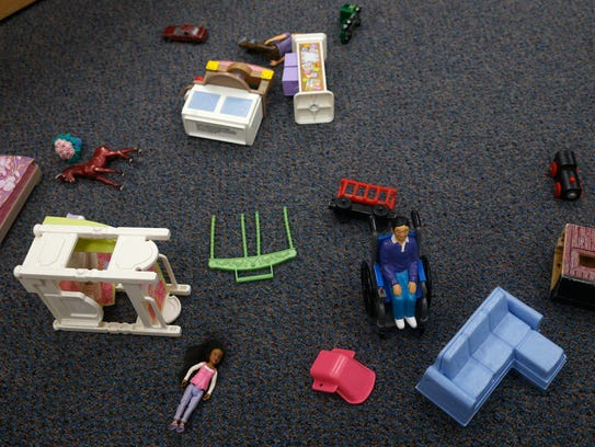 Toys are scattered on a floor Friday inside a preschool classroom at Lydia Rippey Elementary School in Aztec.