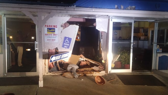 The Scottish Inns, a motel in Fairview Township, was damaged after a car crashed into it.