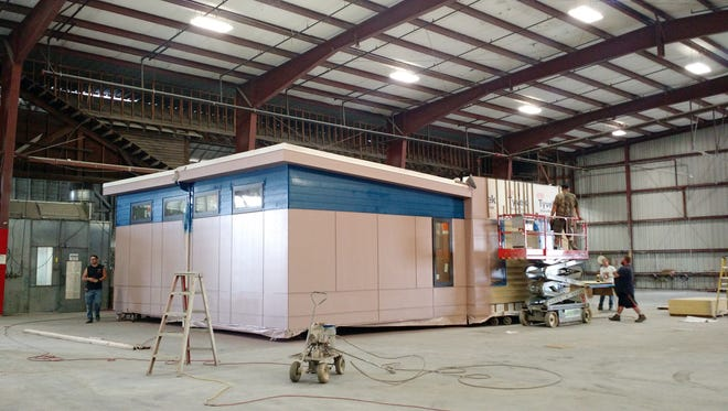 Modern Building Systems constructs 80 percent of their building at their facility in Aumsville before shipping them to their destination.