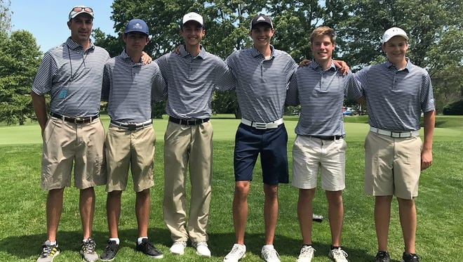 Hartland's golf team finished ninth in the state Division 1 golf tournament at Forest Akers West on June 10, 2017. The team is (from left) coach Nathan Oake, Bryce Brief, Kyle Luce, Nic Hoffman, Mitchell Cotten and Dylan Huck.