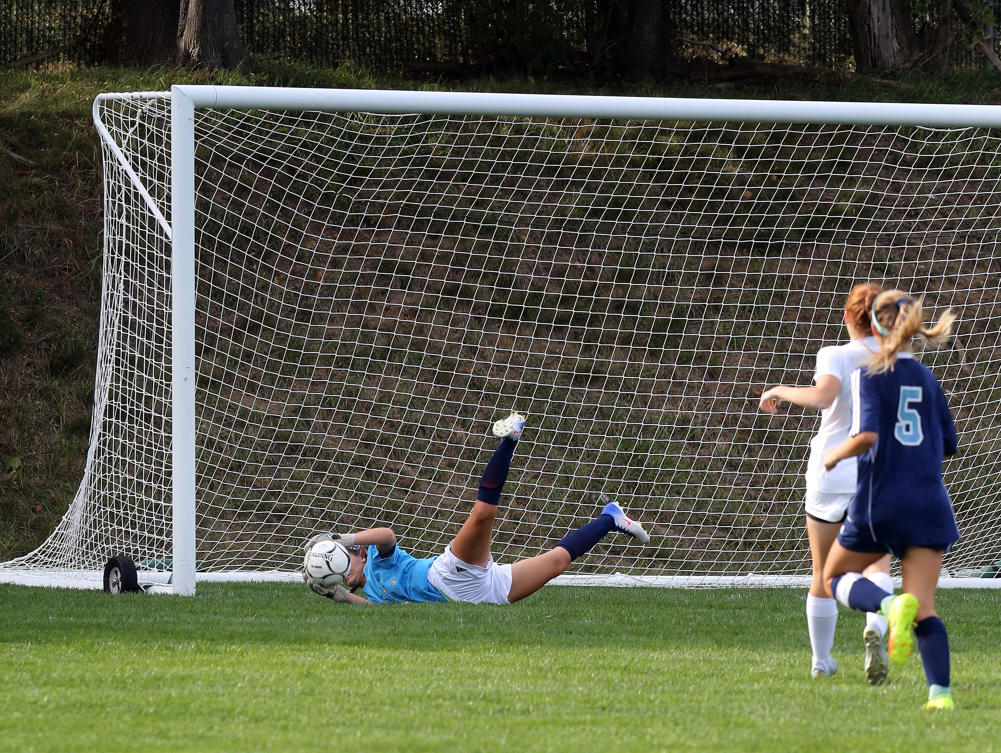 Suffern's goalie Morgan Tamburro (00) blocks a shot from North Rockland during girls soccer game at North Rockland High School in Theills on Sept. 21, 2016.