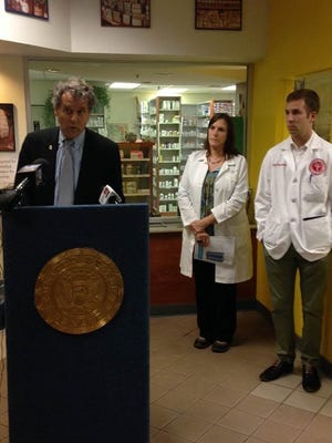 Democratic Sen. Sherrod Brown speaks at a news conference at Crossroads Clinic about a bill that would give Medicare the power to negotiate prescription drug prices.