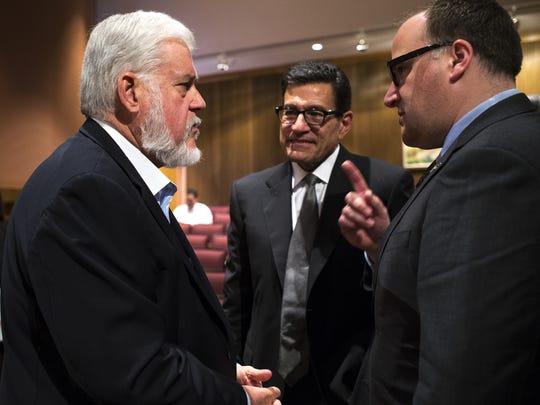 Arizona Coyotes President Anthony LeBlanc (right) talks