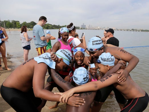 Swimmers Make A Splash In The Detroit River At Charity Event